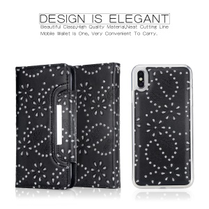 Glittery Leaves Flowers Leather Wallet Cover + Detachable Inner TPU Back Casing for iPhone XS Max 6.5 inch - Black
