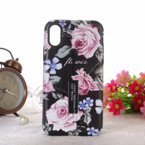 Embossment Peony Pattern TPU + PC Combo Phone Casing Shell with Kickstand for iPhone XS Max 6.5 inch - Pink Peony