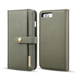 DG.MING Detachable 2-in-1 Split Leather Wallet Phone Shell + PC Back Case for iPhone 8 Plus / 7 Plus - Army Green