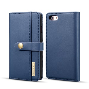 DG.MING Detachable 2-in-1 Split Leather Wallet Cell Phone Shell + PC Back Case for iPhone 8/7 - Blue
