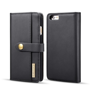 DG.MING Detachable 2-in-1 Split Leather Wallet Shell + PC Back Case for iPhone 6s 6 - Black