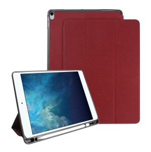 MUTURAL Smart Stand Jeans Cloth Texture PU Leather Cover with Pen Slot for iPad Pro 10.5-inch (2017) - Red