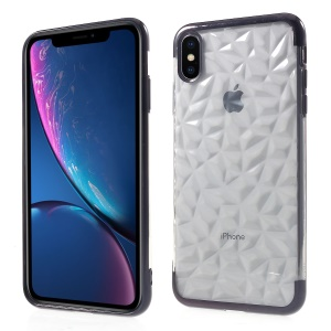 3D Diamond Texture TPU Mobile Phone Case for iPhone XS Max 6.5 inch - Black