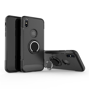ANGIBABE Carbon Fiber Texture TPU PC Combo Casing with Ring Holder Kickstand for iPhone XS Max 6.5 inch - All Black