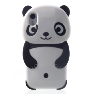 Adorable 3D Panda Silicone Phone Case for iPhone XR 6.1 inch - Black