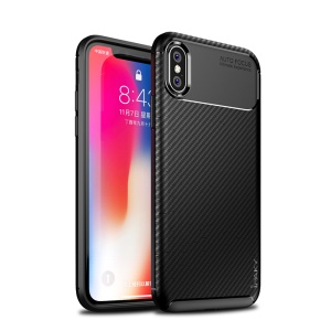 IPAKY Carbon Fiber Texture Soft TPU Heat Dissipation Back Airbag Case for iPhone XS / X 5.8 inch - Black
