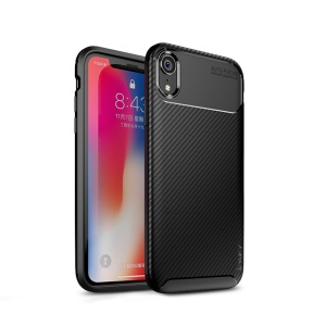 IPAKY Carbon Fiber Texture Soft TPU Heat Dissipation Back Airbag Cover for iPhone XR 6.1 inch - Black