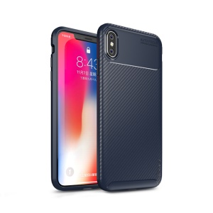 IPAKY Carbon Fiber Texture Soft TPU Cell Phone Shell for iPhone XS Max 6.5 inch - Blue