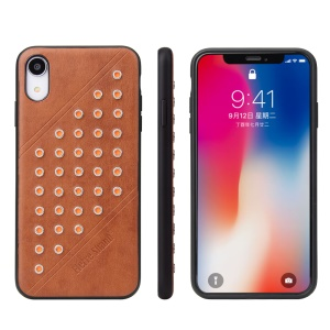 FIERRE SHANN Vintage Rivet PU Leather Coated TPU Case for iPhone XR 6.1 inch - Brown