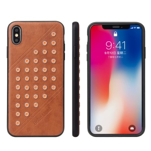 FIERRE SHANN Vintage Rivet PU Leather Coated TPU Case for iPhone XS Max 6.5 inch - Brown