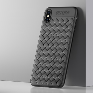 USAMS Woven Texture Heat Dissipation TPU Phone Casing for iPhone XS/X 5.8 inch - Black