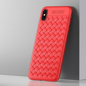 USAMS Woven Texture Heat Dissipation TPU Phone Cover for iPhone XS/X 5.8 inch - Red