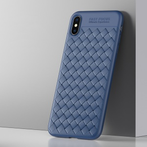 USAMS Woven Texture Heat Dissipation TPU Phone Shell for iPhone XS/X 5.8 inch - Blue