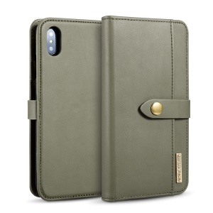 DG.MING Detachable 2-in-1 Split Leather Wallet Protection Shell + PC Back Case for iPhone XS Max 6.5 inch - Army Green