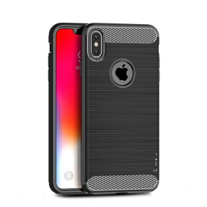 IPAKY Carbon Fiber Texture Brushed TPU Phone Case for iPhone XS Max 6.5 inch - Black