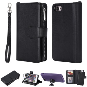 Detachable 2-in-1 TPU + Zipper Wallet Stand PU Leather Portable Case for iPhone 8/7/6s/6 4.7 inch - Black