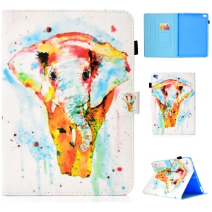 Patterned Leather Card Holder Shell Case for iPad 9.7 (2018)/9.7 (2017)/Air 2/Air - Colorful Elephant