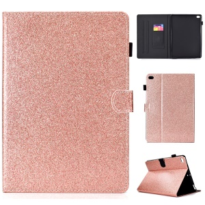 Flash Powder Card Holder PU Leather Stand Flip Shell for iPad 9.7-inch (2018) / 9.7-inch (2017) / Air 2 / Air - Rose Gold