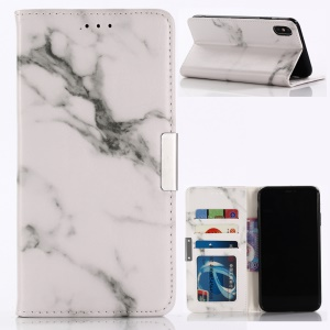 For iPhone XS Max 6.5 inch Marble Pattern Stand Leather Wallet Cover Case - White