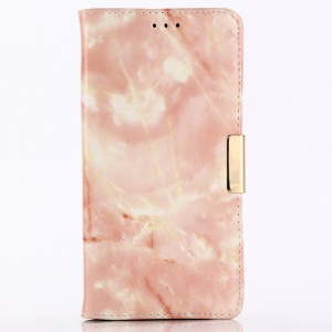 For iPhone XS Max 6.5 inch Marble Pattern Leather Wallet Folio Casing with Stand - Orange