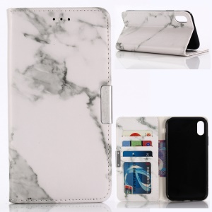 Marble Texture Wallet Stand Leather Phone Case for iPhone XR 6.1 inch - White