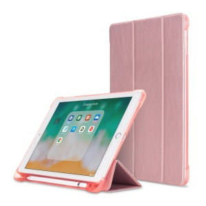 For iPad 9.7 2018 / 9.7 2017 / Air / Air 2 Foldable Stand Leather Shell Case with Pen Slot - Rose Gold