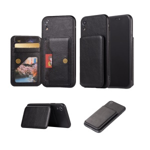 Retro Style Leather Coated PC + TPU Card Slot Kickstand Casing for iPhone XR 6.1 inch - Black