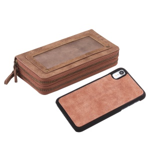Retro Double Zipper Split Leather Wallet with Detachable TPU Case for iPhone XR 6.1 inch - Brown