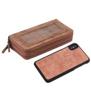 Retro Double Zipper Split Leather Wallet with Detachable TPU Case for iPhone Xs 5.8 inch - Brown