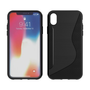 S Shape Carbon Fiber Texture Brushed TPU Phone Case for iPhone XR 6.1 inch - Black