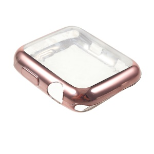 Electroplating Soft TPU Protective Cover for Apple Watch Series 3/2/1 42mm - Rose Gold