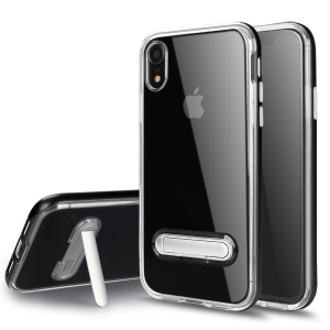 Hybrid Clear Back PC + TPU Magnetic Kickstand Phone Case for iPhone XR 6.1 inch - Black
