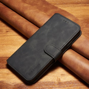 DG. MING Estilo Retro Pu Leather Flip Tampa Carteira Stand Phone Case Para Iphone Xs Max 6,5 Polegadas - Preto