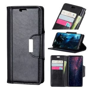 For iPhone Xs 5.8 inch Textured PU Leather Wallet Phone Case with Stand - Black