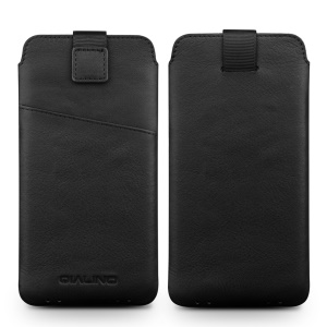 QIALINO Cowhide Leather Pouch Case with Card Slot for iPhone XR 6.1 inch / XS Max 6.5 inch - Black