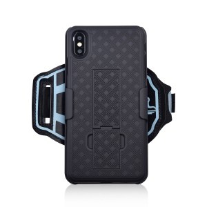 Nylon Sport Armband Woven Pattern PC Protection Phone Shell with Kickstand for Apple iPhone XS Max 6.5 inch