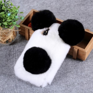 3D Panda Shaped Soft Fur Coated TPU Case for iPhone XR 6.1 inch - White / Black