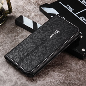 GEBEI for iPhone XS Max 6.5 inch Leather Case, Litchi Texture / 2 Card Slots / Stand / Fine stitching - Black