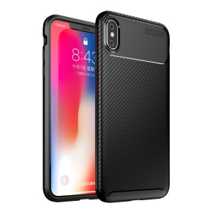 TPU Case for iPhone XS Max 6.5 inch Beetle Series Carbon Fiber TPU Protection Mobile Phone Cover - Black