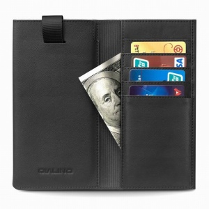 QIALINO Cowhide Leather Pouch Wallet Phone Cover for iPhone XR 6.1 inch - Black