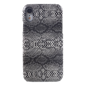 For iPhone XR 6.1 inch Cover Casing PU Leather Coated Plastic Cover - Snake Texture