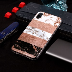 Glitter Powder Marble Pattern IMD TPU Phone Casing for iPhone XS 5.8 inch - White / Pink / Black