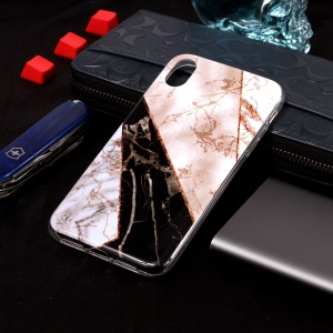 Flash Powder Marble Pattern IMD TPU Case for iPhone XR 6.1 inch - White / Brown