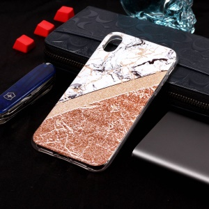 Flash Powder Marble Pattern IMD TPU Cover for iPhone XR 6.1 inch - White / Rose Gold