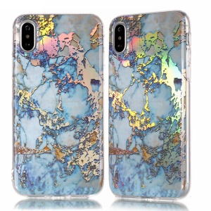 IMD Marble Pattern Plated TPU Gel Shell Case for iPhone XS Max 6.5 inch - Dark Blue