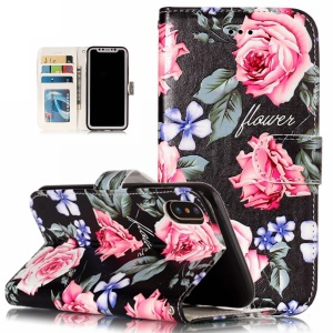 Embossed Pattern Printing Leather Wallet Case with Stand for iPhone XS 5.8 inch - Pretty Flower