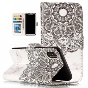 Embossed Pattern Printing Leather Wallet Cover with Stand for iPhone XS 5.8 inch - Retro Flower and Marble Texture