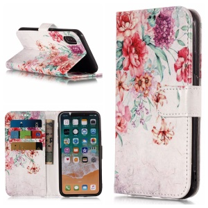 Pattern Printing Leather Case Wallet Stand Cover for iPhone XS Max 6.5 inch - Blooming Flower