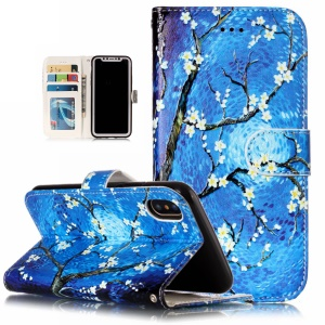 Embossed Pattern Printing Leather Wallet Case with Stand for iPhone XS Max 6.5 inch - Tree with Flower
