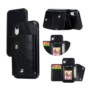 For iPhone XR 6.1 inch Wallet Case PU Leather Coated TPU Cover [Multi Card Slots] [Strap] - Black